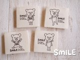 SMILE布タグ/スクエア/SMILEくま全身4枚(4種類)