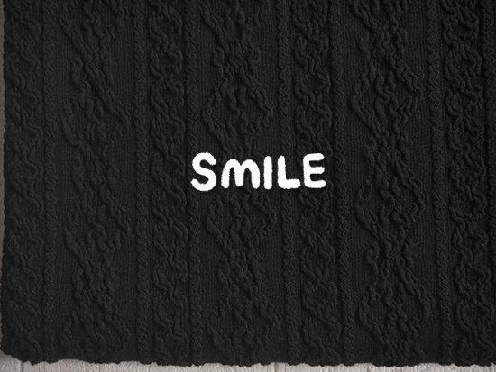 縄編みアランシャーリングニット/ブラック