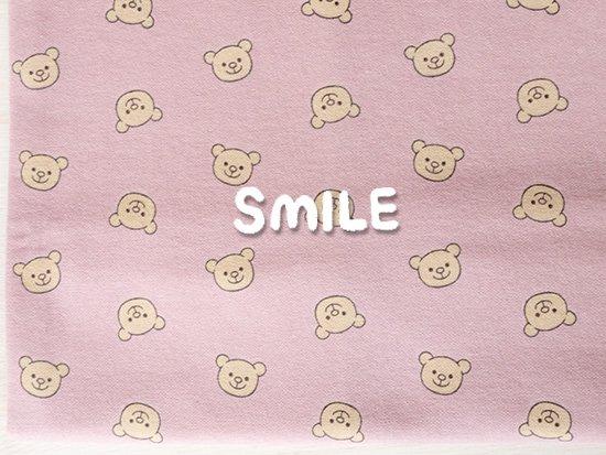 40/20ミニ裏毛/SMILEくま/ピンク