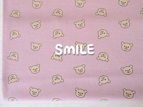 オーガニックTOPリバー天竺/SMILEくま/ピンク