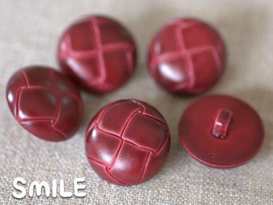 [ボタン]レザー調ボタン ワイン 15mm/6個