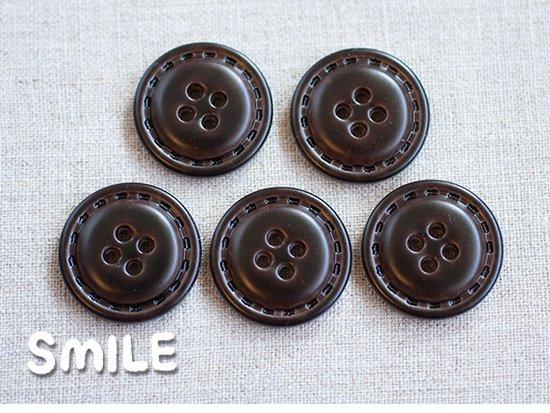 [ボタン]レザー調4つ穴ボタン ディープブラウン 23mm/5個