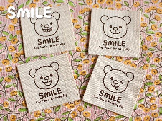 SMILE布タグ/スクエア/ SMILEくま顔4枚(4種類)