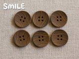 [ボタン]木調ボタンブラウン 23mm/6個