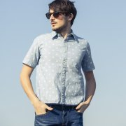 <img class='new_mark_img1' src='//img.shop-pro.jp/img/new/icons20.gif' style='border:none;display:inline;margin:0px;padding:0px;width:auto;' />【PROJECT SR'ES】STAR PIPING CHAMBRAY SHIRT(星総柄シャツ)