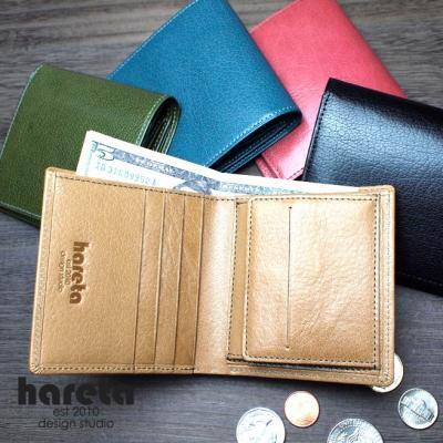 ボックス型小銭入れ二つ折り財布 バッファローレザー