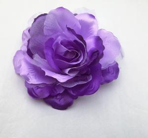 薔薇ブローチ、髪飾り、クリップ兼用  紫グラデーション