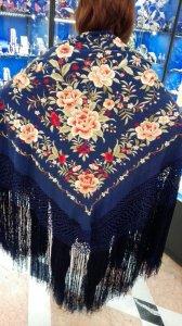 ●ご予約受付品●ボルダドス・フォロンダ社製 青x多色刺繍 シルク140cmx140cm