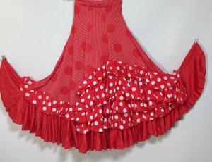 ◆フラメンコ用ファルダ多段ボランテ 赤白ドット