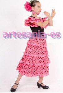 ★新色★4段ボランテ子供用フラメンコドレス ピンク黒 8-10