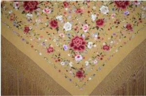 【取寄せ予約】シルクマントン140cmゴールド多色刺繍ゴールドフレコ