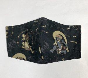 和柄マスクハンドメイド3D  風神雷神図