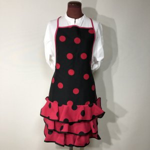 フラメンコエプロン 黒ピンク