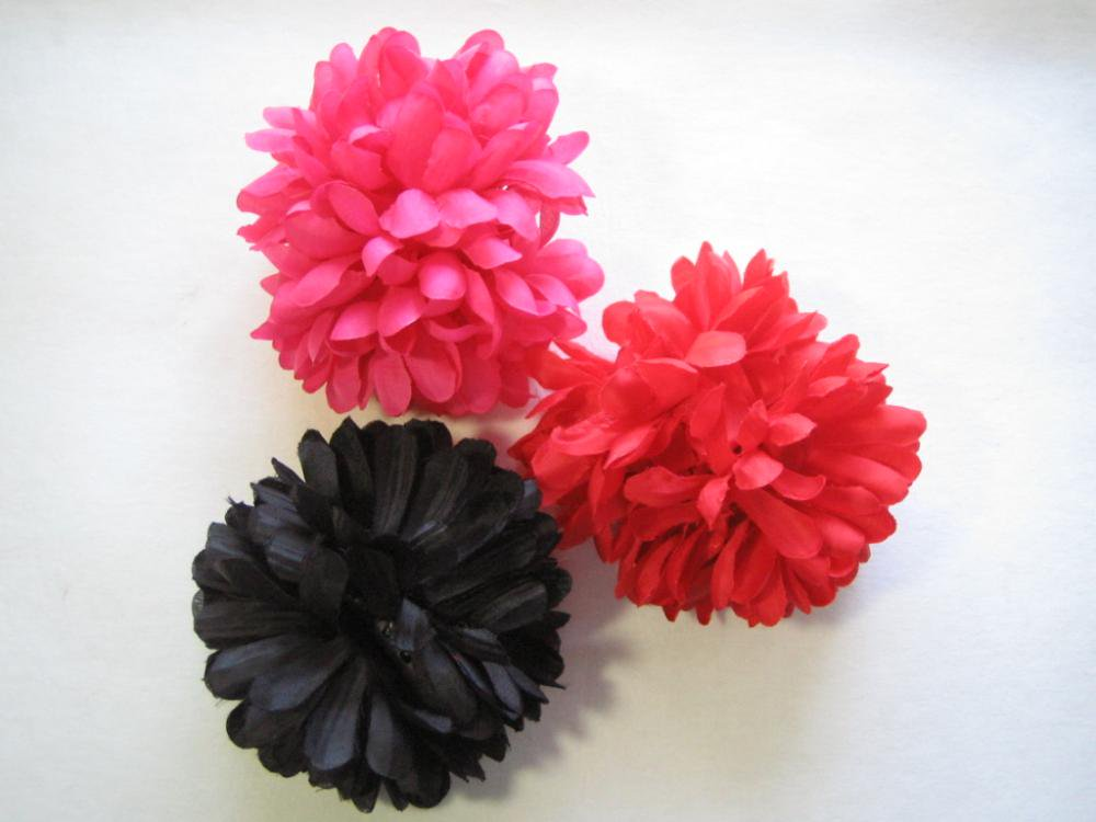 フラワーヘアクリップ  大 (15cm)赤/ピンク/黒