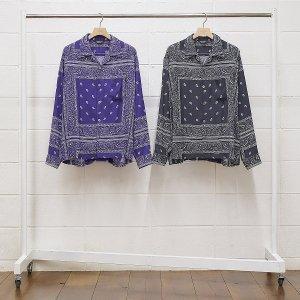 UNUSED/アンユーズド/【送料無料】2020SS/US1796-Bandana print shirt(BLACK)/オープンカラーロングスリーブシャツ