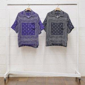 UNUSED/アンユーズド/【送料無料】2020SS/US1798-Bandana print shirt(BLACK)/オープンカラーショートスリーブシャツ