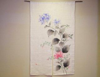 のれん 「紫陽花と萩」