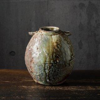 信楽灰被 耳付花瓶