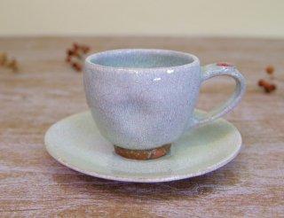 氷雪白 コーヒー碗皿(紅)