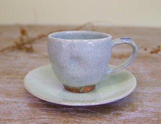 氷雪白 コーヒー碗皿(藤色)
