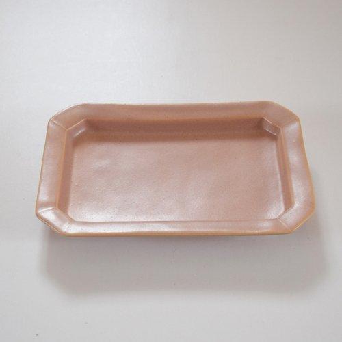 山下透 長方皿  ピンクグレー