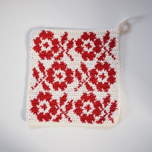 Bjork design ポットホルダー  お花柄 ホワイト×レッド