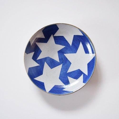 相澤かなえ 星の丸皿  青×白い星