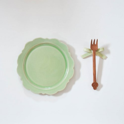 アトリエ モノラー  洋風リム皿 もえぎ
