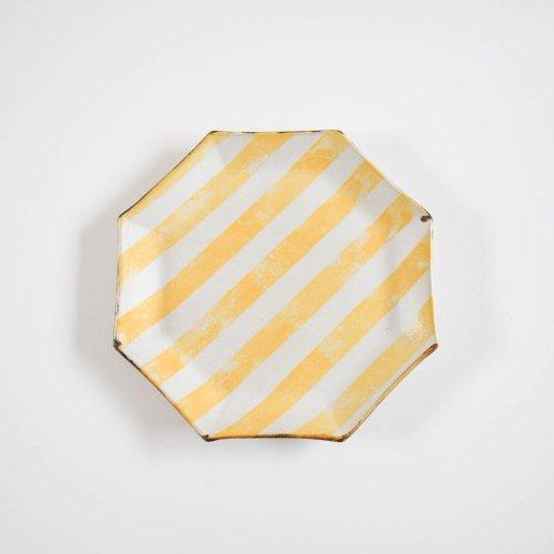 のん窯 八角皿 大 しましま 黄色