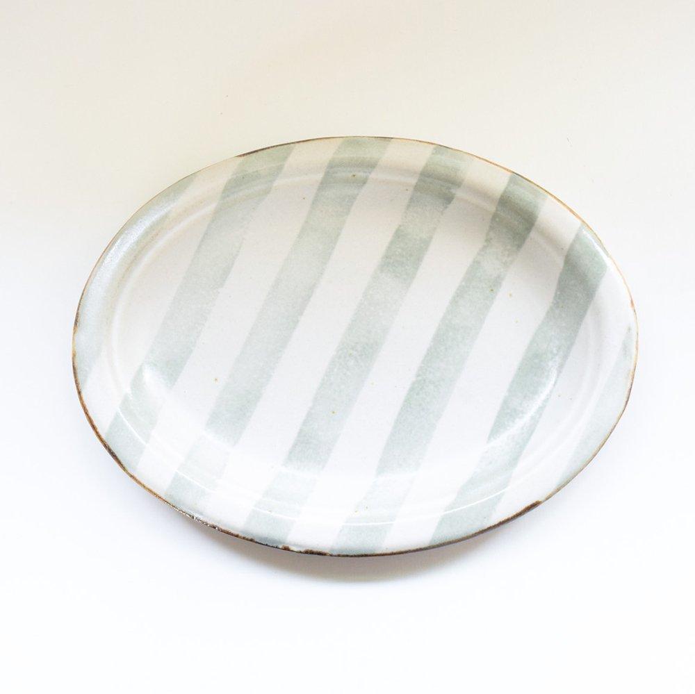 のん窯 オーバル皿 しましま グレー