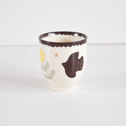 表美沙 トリとおはなのカップ 茶色
