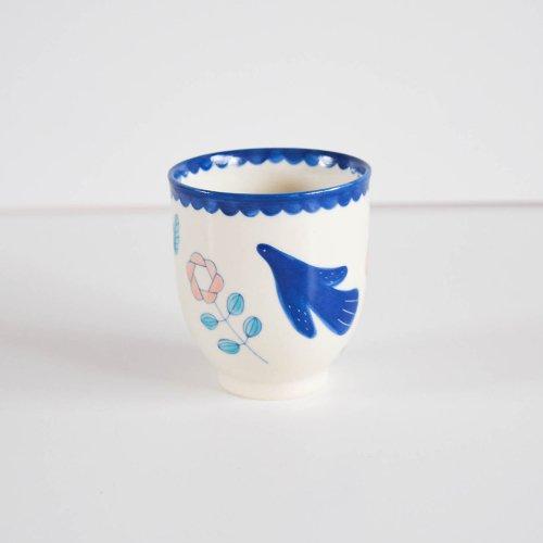 表美沙 トリとおはなのカップ 水色