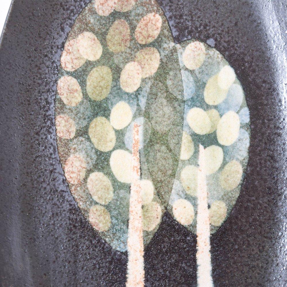 はるな陶芸工房 楕円プレート 木(黒)