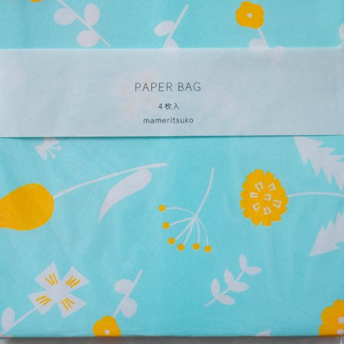 mameritsuko PAPER BAG  ボタニカル  ライトブルー