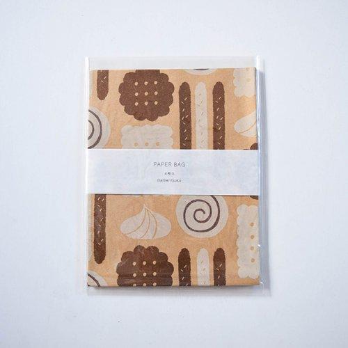 mameritsuko PAPER BAG  お菓子 ブラウンとホワイト
