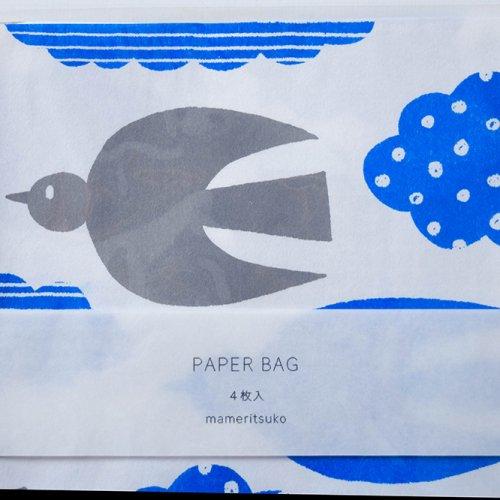 mameritsuko PAPER BAG 鳥と雲 ホワイト