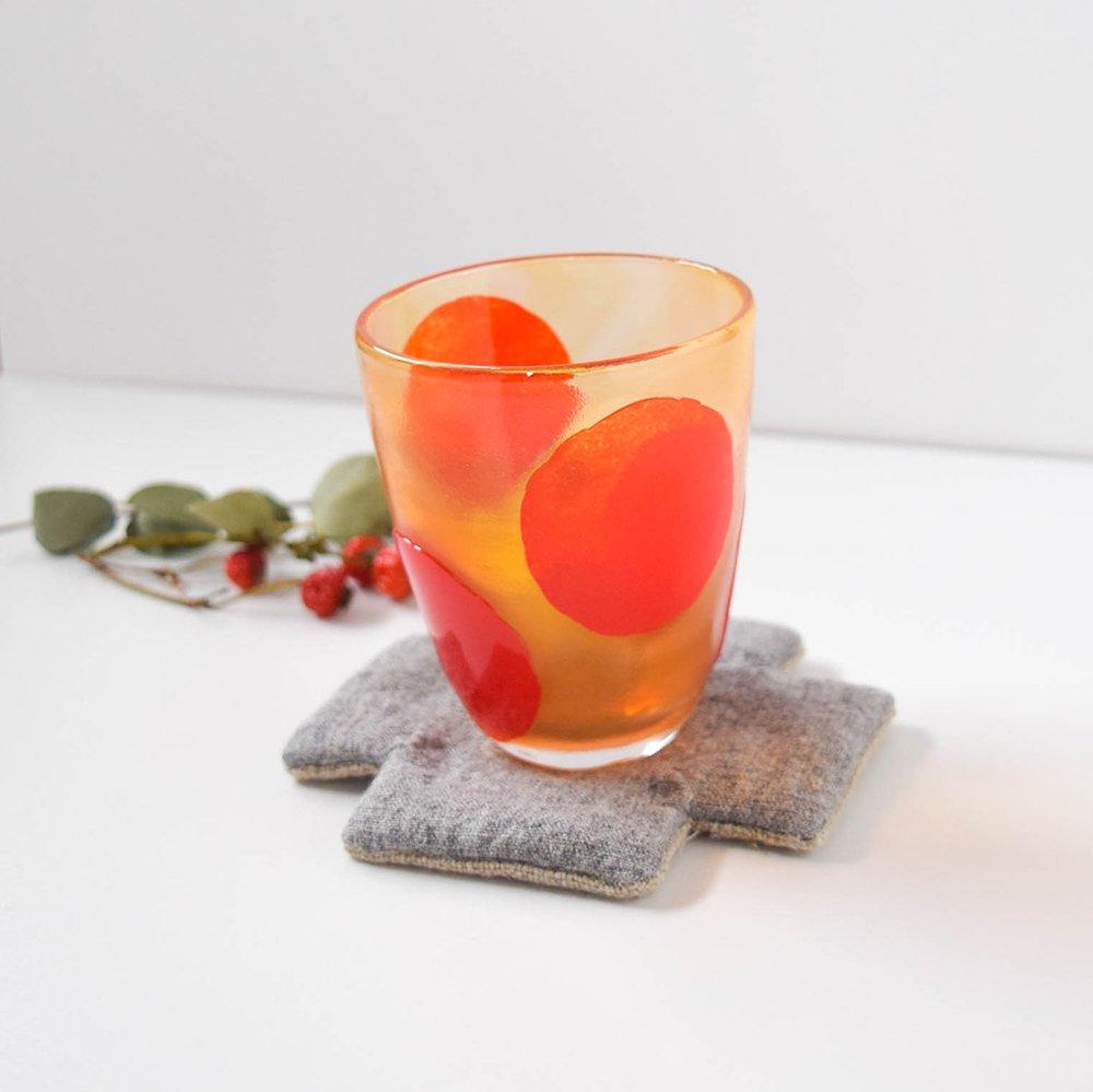 Tickle glass 「vivid glass 」  大きな水玉 赤