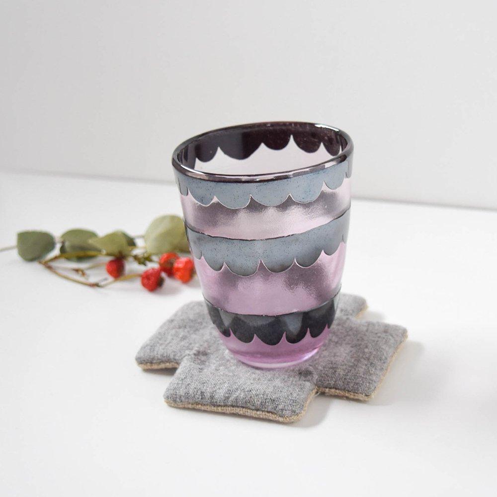 Tickle glass 「vivid glass 」  フリル ピンクと黒