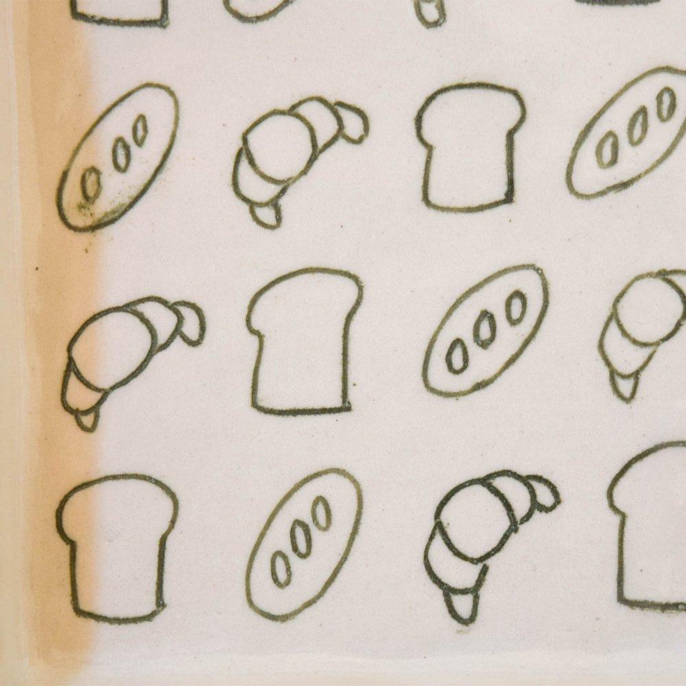岩佐悠子 パン柄のプレート  スクエア 大 緑