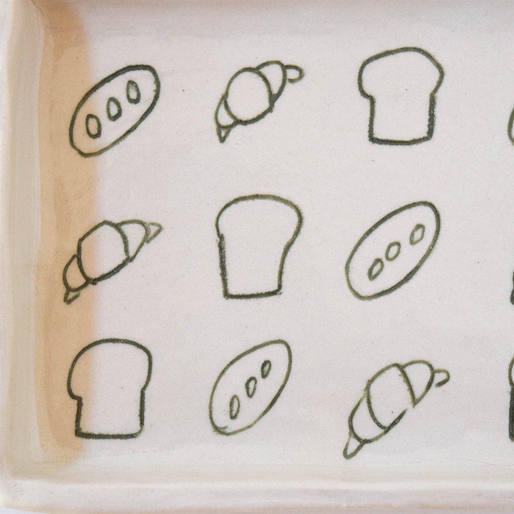 岩佐悠子 パン柄のプレート  長方形 緑