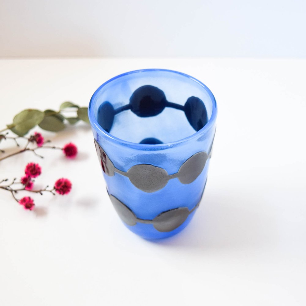 Tickle glass 「vivid glass 」  大きなまるつなぎ 横向き