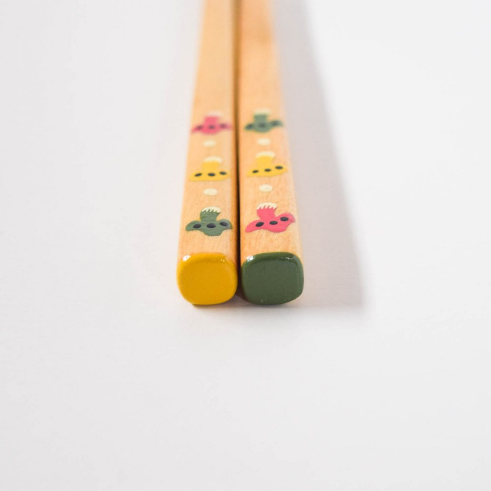 yuuyuu箸 シラカバの木  きのこ箸 ピンク・黄色・緑