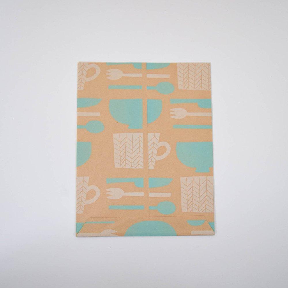 mameritsuko PAPER BAG  うつわ 白×水色