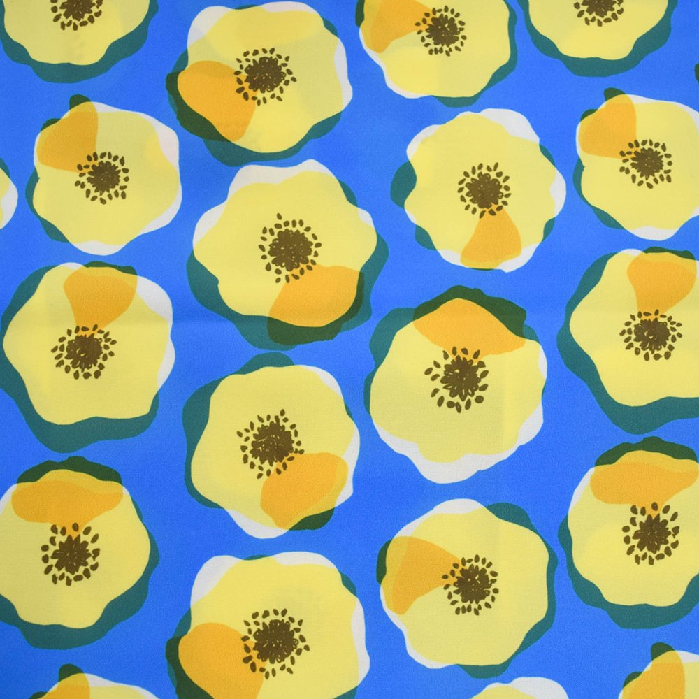 PEPOTARO エコバッグ  大きなお花(ブルー×黄色)