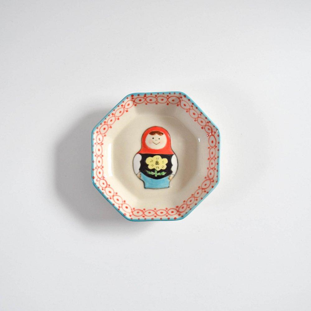 五月女京子 マトリョーシカ  小皿 赤