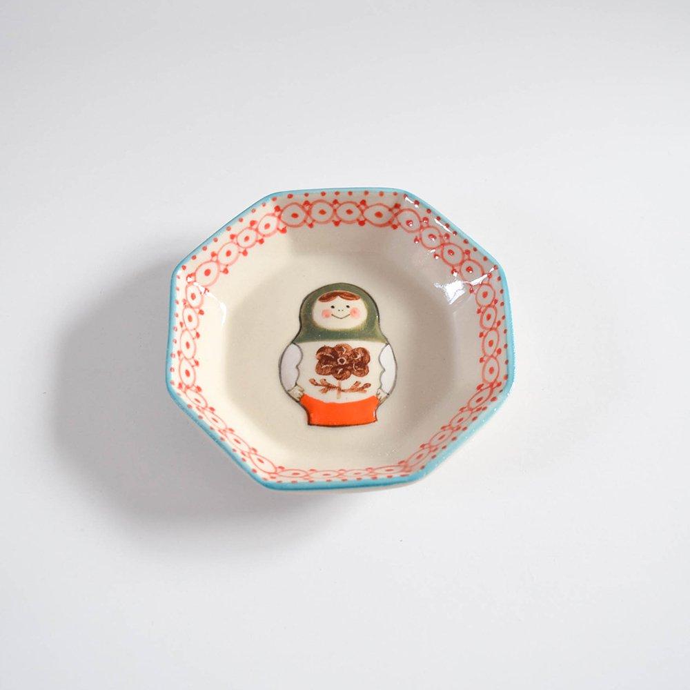 五月女京子 マトリョーシカ  小皿 緑