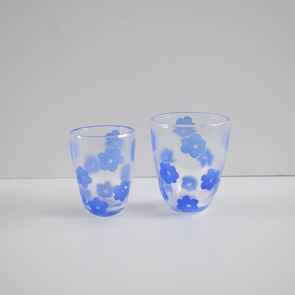 Tickle glass 小花glass  ブルー