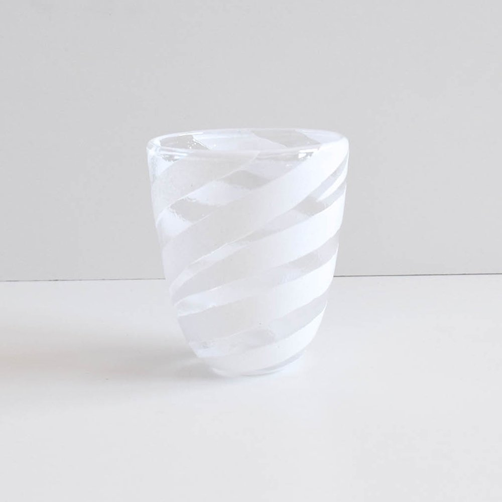 Tickle glass しましま  ホワイト