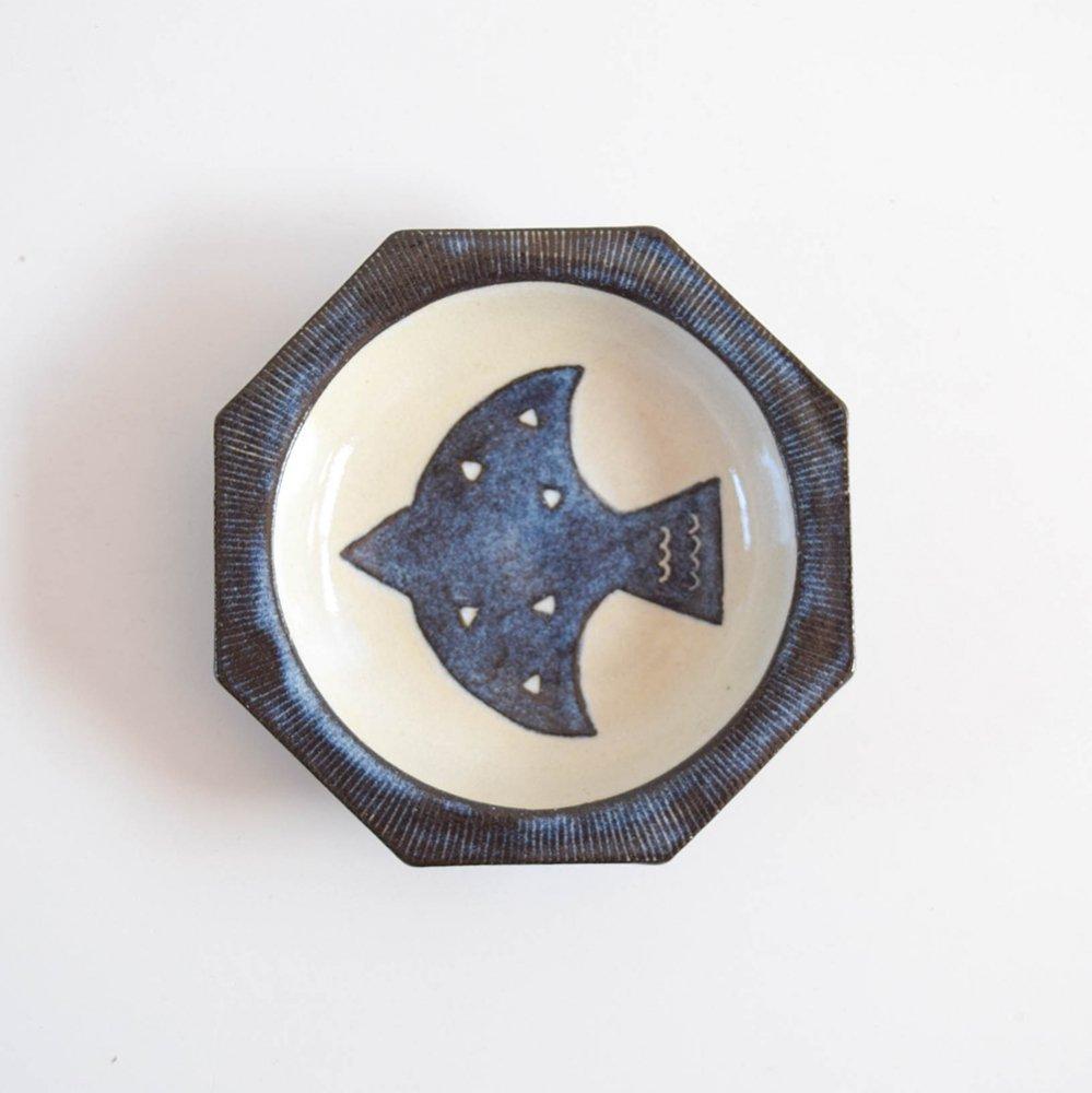 atelier aya いしげたに あや   八角3.5寸皿 bird blue
