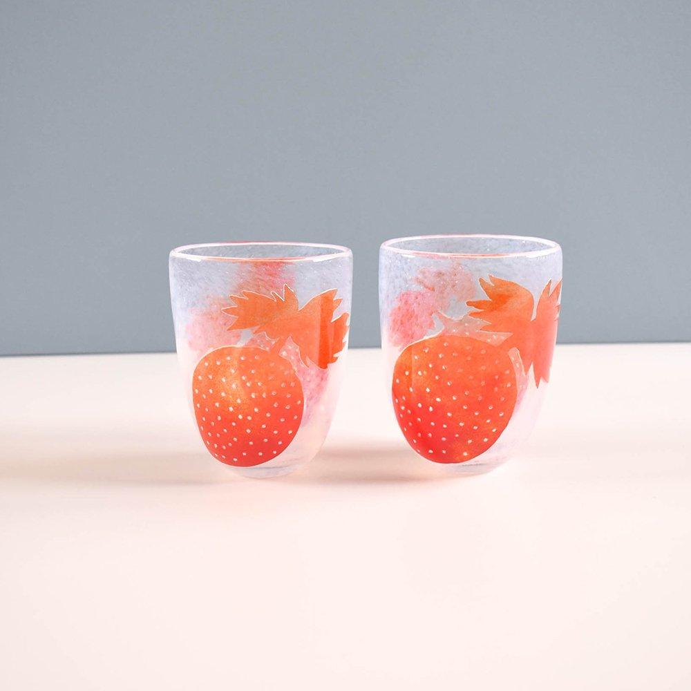 Tickle glass   ビビットグラス 苺 赤